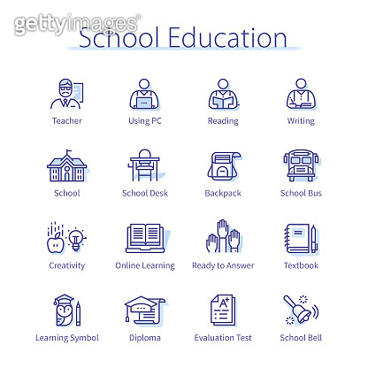 Primary school education concept. Teacher & student person learning online, reading book, graduation hat, diploma, bus, backpack thin line icons set. Study linear vector illustrations