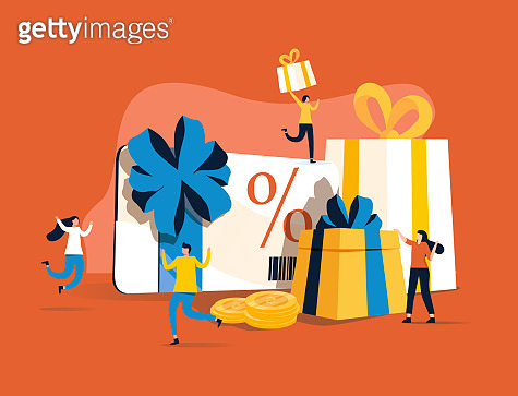 Gift card and promotion strategy, gift voucher, discount coupon and gift certificate concept. Vector isolated picture