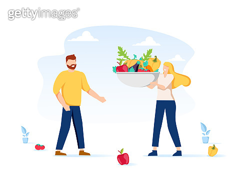 Healthy Eating, Cooking Vegetarian Food and Dieting Concept. Tiny People Eat Berries and Preparing Fruit Jam at Home