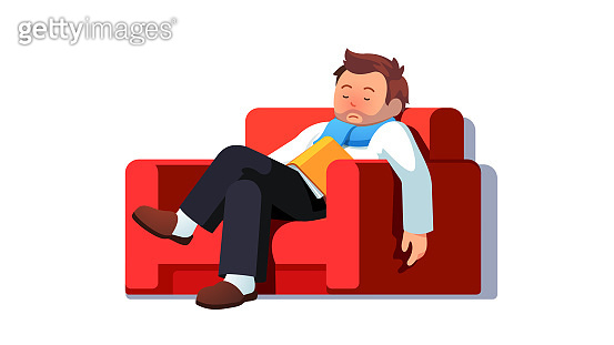 Ill business man with red nose from cold rhinitis sickness fell asleep reading book sitting on home armchair. Sick character sleeping resting recovering from fever on couch. Flat vector illustration