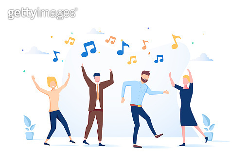 vector illustration, a group of people dancing and having fun to the music.Entertainment event, excited friends.