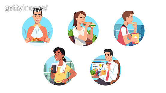 Men & women having lunch meal or snack break food set. Hungry business people eating at work, home, outdoors on the go. Person enjoying dish, sandwich, chips, cookie, drinking flat vector illustration