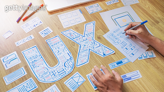 ux designer creative prototype Graphic planning application development for web mobile phone . User experience concept.