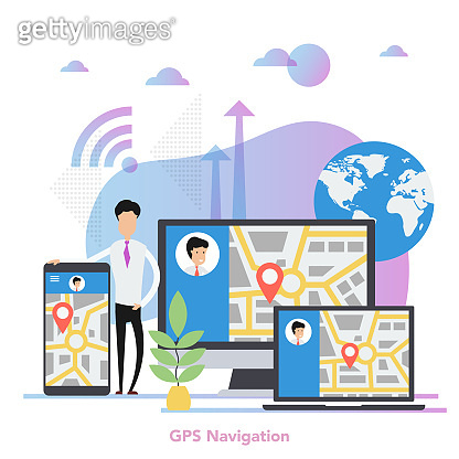 Vector square GPS navigation on different devices concept