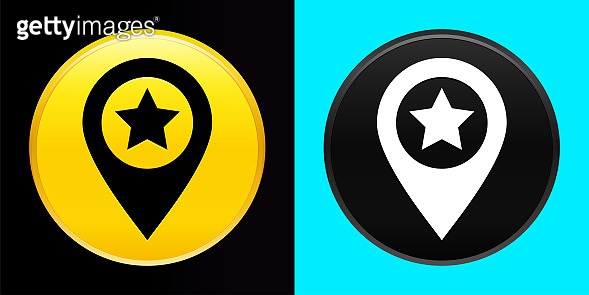 Map pointer star icon flat exclusive button set