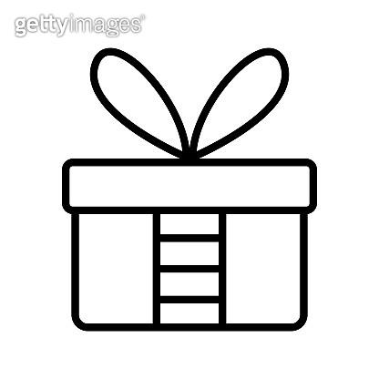 gift box line art vector icon - ui icon vector