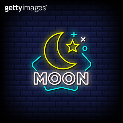 Moon neon signs style text
