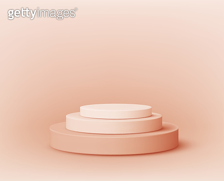 Round empty podium. Award ceremony concept. Stage backdrop. Vector illustration