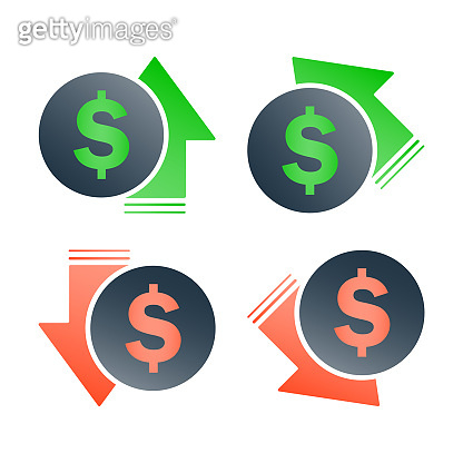 Dollar increase decrease icon. Money symbol with arrow stretching rising up and drop fall down.