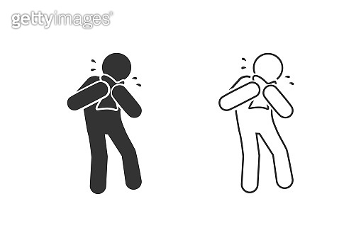 Man Coughing line icon set. Covid 19. Attention coronavirus. Medical concept. Caution virus. vector illustration