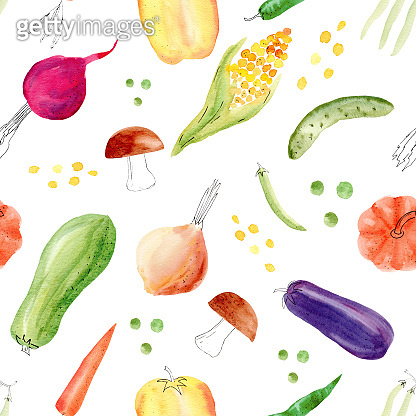 Pepper, corn, cob, aubergine, mushroom, peas, pumpkin vegetables clipart.