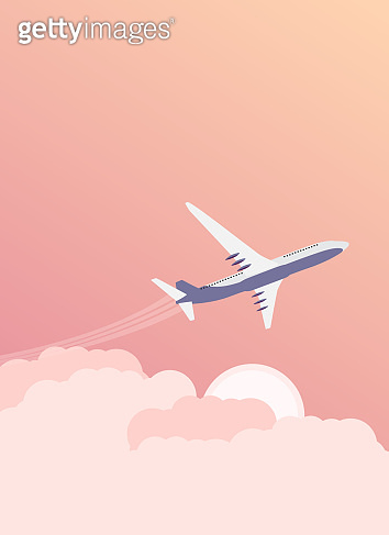 Travel background with Airplane and Sky with Cloud. Vector Illustration