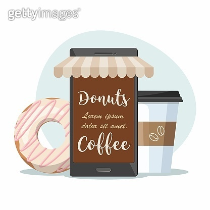 Coffee shop cafe. Mobile phone, coffee cup and donut. Order food and drink concept.