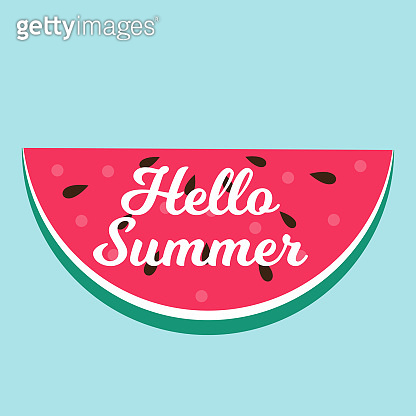 Hello Summer concept Background with Watermelon. Vector Illustration