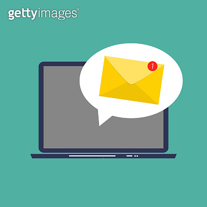 E-mail marketing Concept Flat  Background with Laptop. Vector Illustration