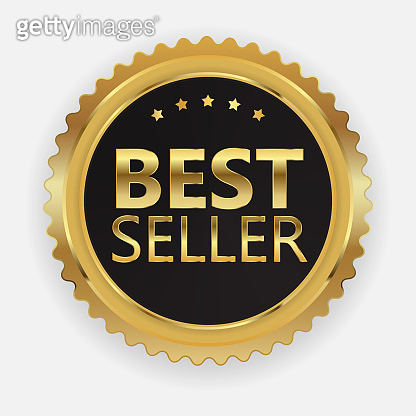 Best Seller Golden Label Sign. Vector Illustration