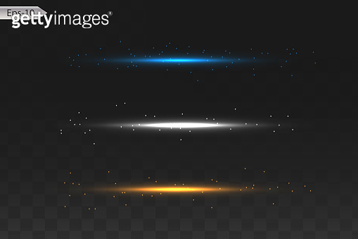 Set of glowing lights effects isolated on dark background. Sun flash with rays and spotlight. Glow light effect. Star burst with sparkles.