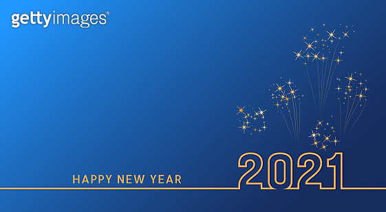 2021 Happy New Year text design with golden numbers on blue background with fireworks. Holiday banner, poster, greeting card or invitation template. Year of the bull. Copy space. Vector illustration