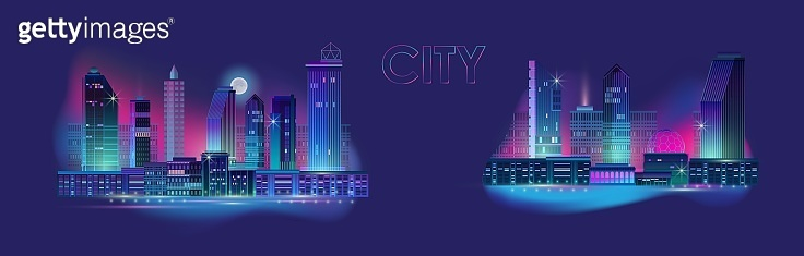 Night city panorama with neon glow on blue background. Vector set.