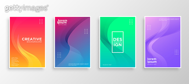 Set of four Minimal covers design. Colorful wavy gradients.modern background template design for web. Cool gradients. Future geometric patterns. Eps10 vector.