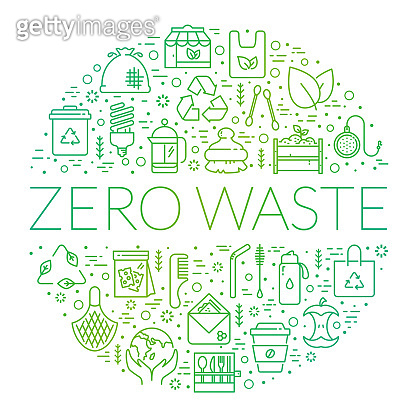 Zero waste banner with circle shape made of line icons.
