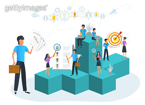 Vector illustration, recruitment, job interview, human resource management concept. HR managers are searching through resumes and hiring staff for new vacancy in the office. Business goal achievement