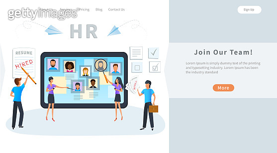 Vector concept of online recruitment, job interview. Business recruiting. Human resources manager searching for candidate CV to hire, select a resume process. Hiring employees, recruitment agency