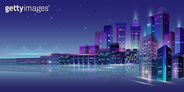 Night city panorama with neon glow on blue background. Vector.