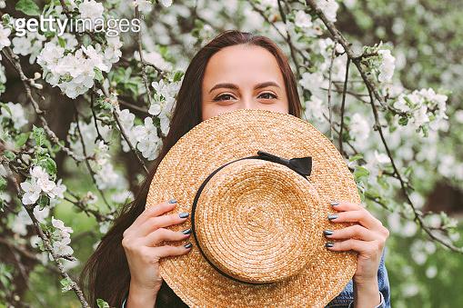Cheerful carefree hippie girl have fun on blossom garden