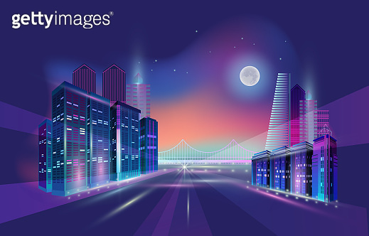 Night city panorama with moon and neon glow. Vector illustration.