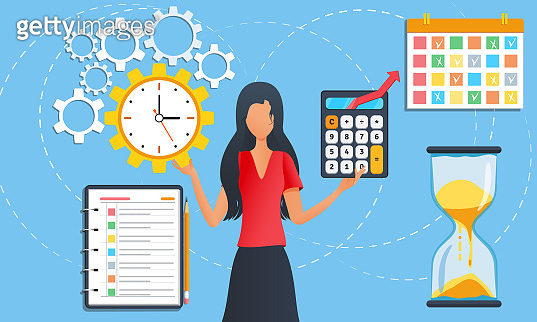 Businesswoman is standing among task icons. Female doing multitasking work at office. Effective time management. Tasks planning. Organization of working process to boost efficiency. Project management