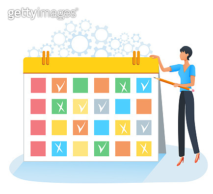 vector illustration, work planning and time management concept. Schedule. Businesswoman standing near big scrum task board. Project management. Agenda or appointments. Business training, presentation