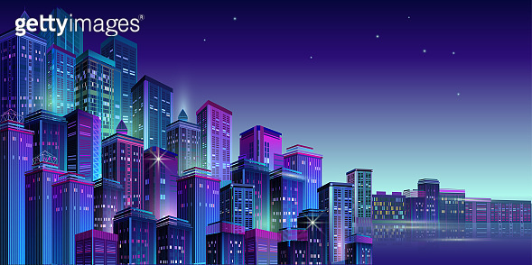 Night city panorama with neon glow. Vector illustration.