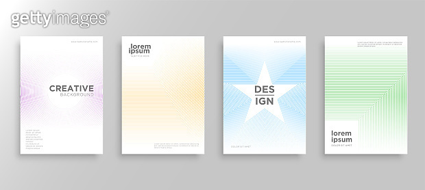 Set of four Minimal covers design. Colorful halftone gradients.modern white background template design for web. Cool gradients. Future geometric patterns. Eps10 vector.
