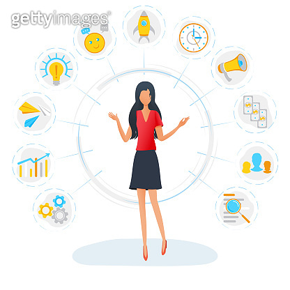 Businesswoman is standing surrounded by office task icons. Business multitasking concept. Project and time management, productivity optimization. Effective management. Vector illustration