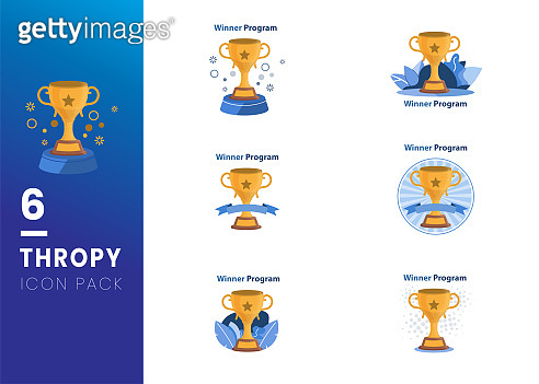 Set of Trophy Cup Vector Flat Icon with star on white background
