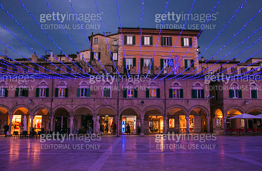 View of Piazza del Popolo Piazza del Popolo is a well-known Renaissance-style square in the city of Ascoli Piceno at christmas time with decorations