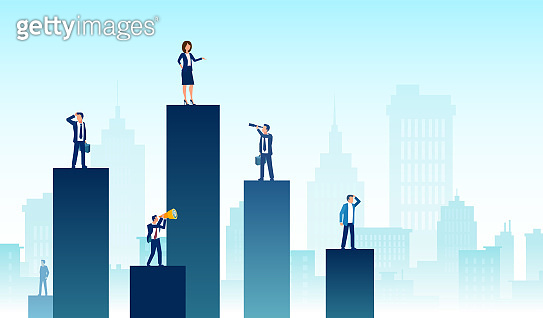 Personal growth, competition and leadership concept. Vector of a business team and partners standing on charts of different heights