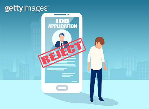 Vector of a sad business man being denied in online job application