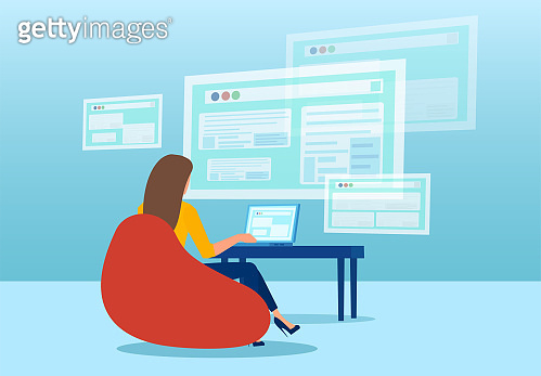 Vector of a business woman working from home using modern technology to network