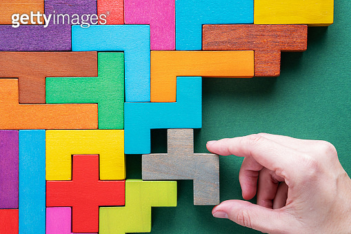 Top view on colorful wooden blocks.