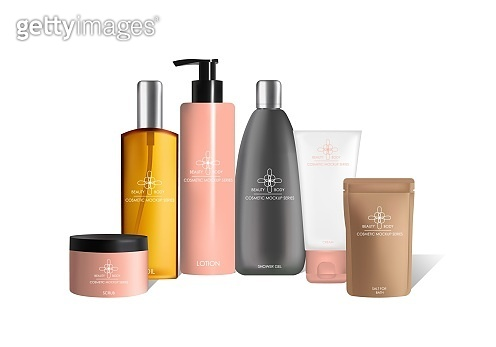Body care cosmetics packaging vector mock up set