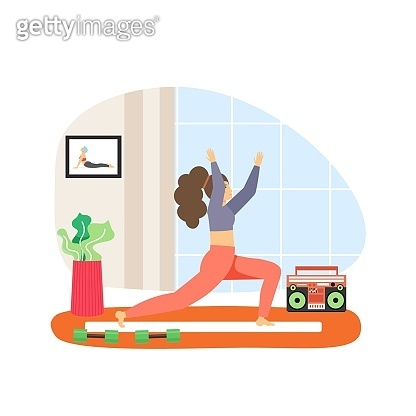 Sport and fitness activities. Young woman doing stretching exercises, flat vector illustration. Fitness stretch workout.