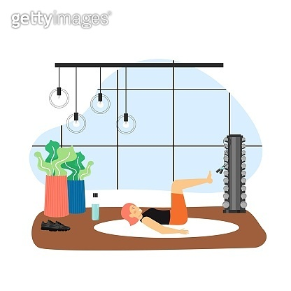 Sport and fitness activities. Young woman doing pilates exercises, flat vector illustration. Fitness pilates workout.