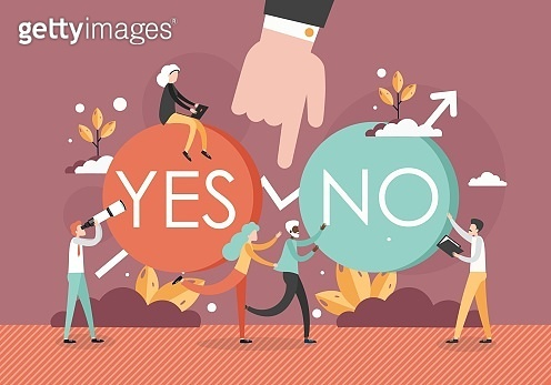 Making choice and decision concept vector flat illustration