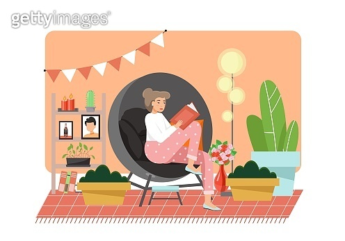 Reading books at home, vector flat illustration