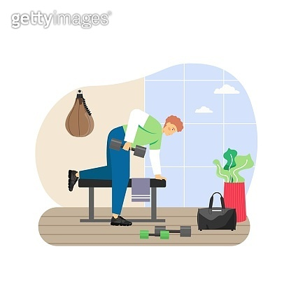Fitness gym. Young man doing triceps exercises with dumbbells, flat vector illustration. Sport and healthy lifestyle.