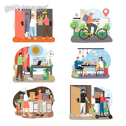 Food delivery set, flat vector illustration. People ordering, chef preparing, courier delivering fast food, groceries.
