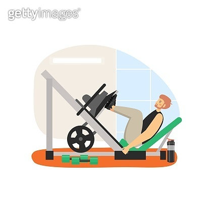 Fitness gym. Young man doing leg press machine exercises, flat vector illustration. Sport and healthy lifestyle.
