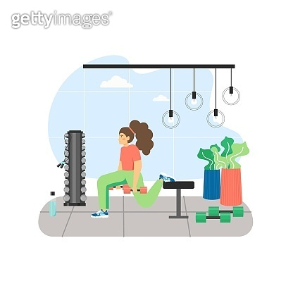 Fitness gym. Young woman doing lunge weight exercises with dumbbells, flat vector illustration. Sport healthy lifestyle.